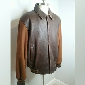 Izod Brown Leather and Sweater Bomber Jacket XXL